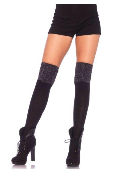 Leg avenue fekete -ezüst lurexes térdharisnya S/L One Size
