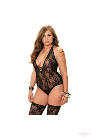 Leg Avenue nagyméretű szexi fekete csipke body harisnyával szettben XL-XXL