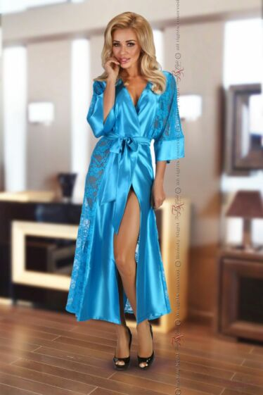 Bouquet dressing gown turquoise
