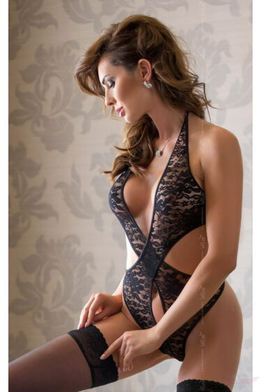Softline Silvia fekete csipke női body
