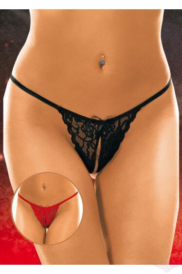 Softline nyitott piros csipke erotikus tanga bugyi állítható pánttal