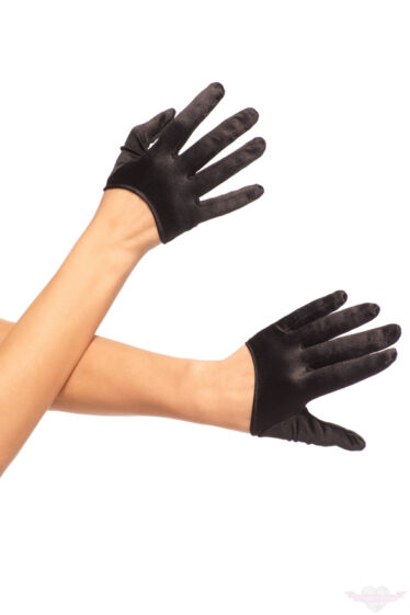 Leg Avenue mini fekete szatén kesztyű