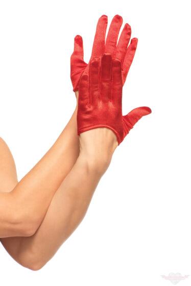 Leg Avenue mini piros szatén kesztyű