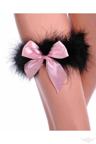 Leg Avenue fekete/rózsaszín luxus combfix gyűrű marabu tollból