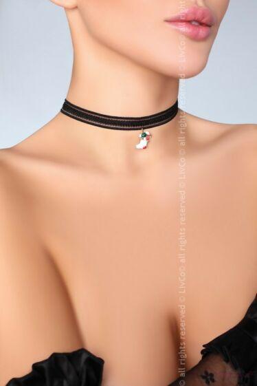 Livco Corsetti szexi fekete fonott nyaklánc függővel