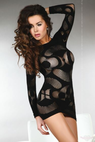 Livco Corsetti Ava sexy fekete csipke miniruha cicaruha