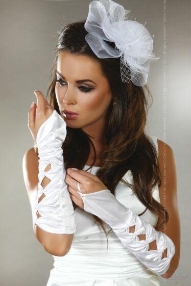 Livia Corsetti  fehér szatén félhosszú menyasszonyi kesztyű