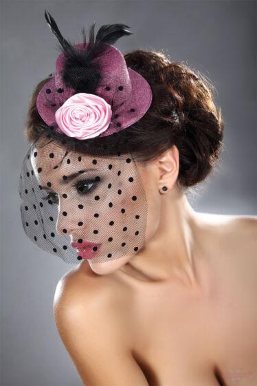 Livco-Corsetti Mályva rózsaszín mini kalap hajdísz fekete fátyollal