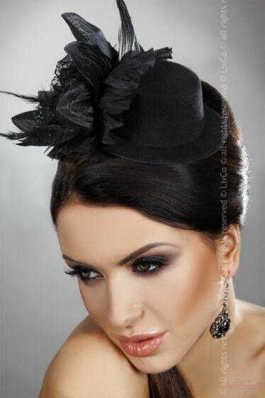 Livco Corsetti Model 22 dekoratív fekete mini kalap kep