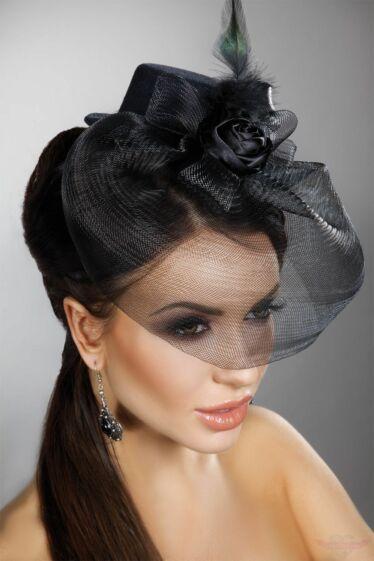 Livco-Corsetti Fekete mini kalap fekete fátyollal tolldísszel rózsával