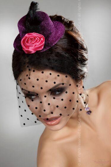 Livco-Corsetti Sötét pink mini kalap hajdísz fekete fátyollal