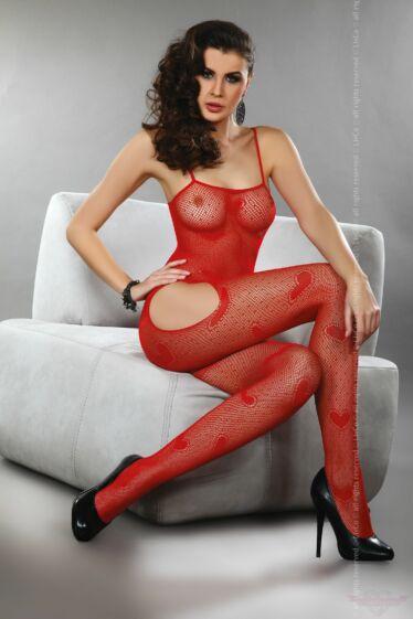 Livco-Corsetti Titania Red Szivecskés alul nyitott piros cicaruha