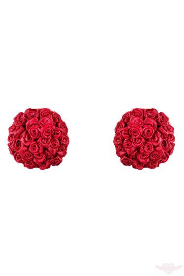 Obsessive Lucky piros szatén melldísz rózsákkal