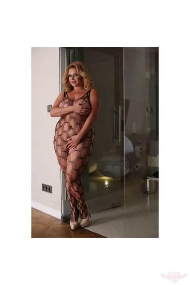Softline fekete necc hálós rugalmas erotikus molett testhrisnya